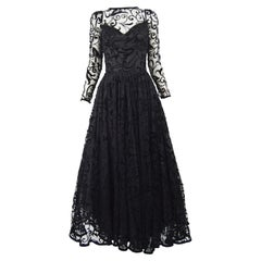Caroline Charles Flocked Velvet on Tulle Vintage Formal Evening Dress, A/W 1993