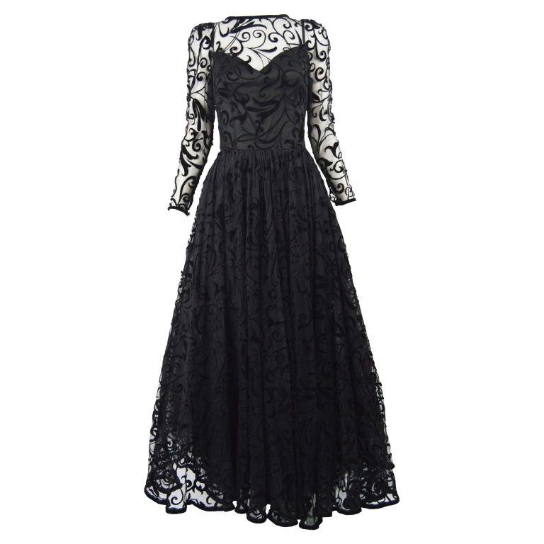 Caroline Charles Flocked Velvet on Tulle Vintage Formal Evening Dress, A/W 1993 For Sale