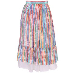 Caroline Charles Stripe Silk Multi Coloured Skirt
