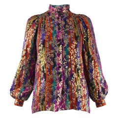 Caroline Charles Vintage Multicolored Silk & Lamé Brocade Party Jacket, 1980s