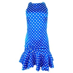 Caroline Consta Audrina Blue and White Polka Dot Silk Mini Dress w/ Tags