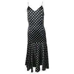 Caroline Constas Black and White Silk Polka Dot Silk Dress, Size M