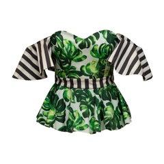 Caroline Constas Green & Multicolor Monstera Print Off-The-Shoulder Top