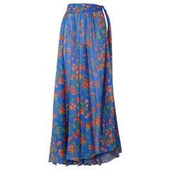 Caroline Constas Hera Printed Cotton & Silk Voile Skirt M