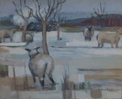 French farmhouse painting with a contemporary twist: sheep and winter snow