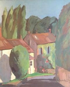 French Village, Impressionist Landscape, Oil Painting, Signed
