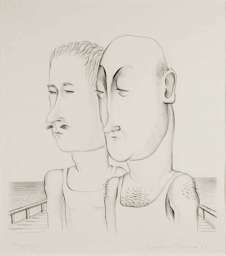 Caroline Durieux Figurative Print - Playboys (2 American male refugees from the Gatsby era preen on Mexican beach)