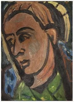 Figure - Original Oil Painting on Cardboard - Mid-20th Century