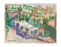 Outdoor View - Original Tempera by Caroline Hill - 1940s