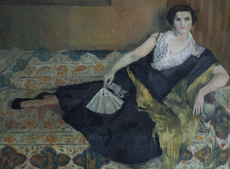 Lady Reclining Portrait - British 50's Impressionist oil painting female artist - Black Interior Painting by Caroline Hutchinson