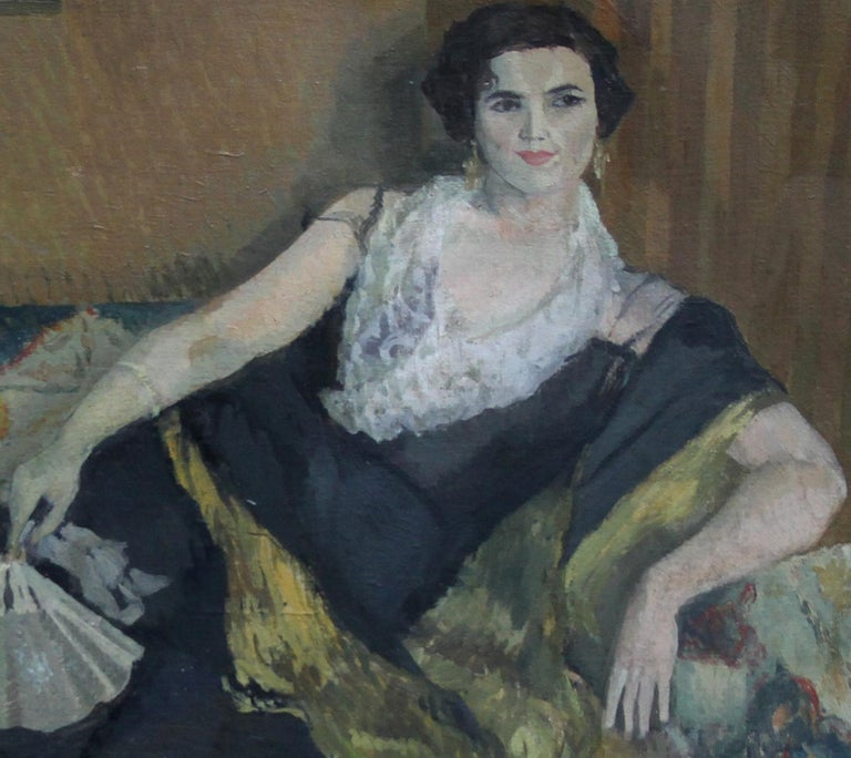 Lady Reclining Portrait - British 50's Impressionist oil painting female artist For Sale 1