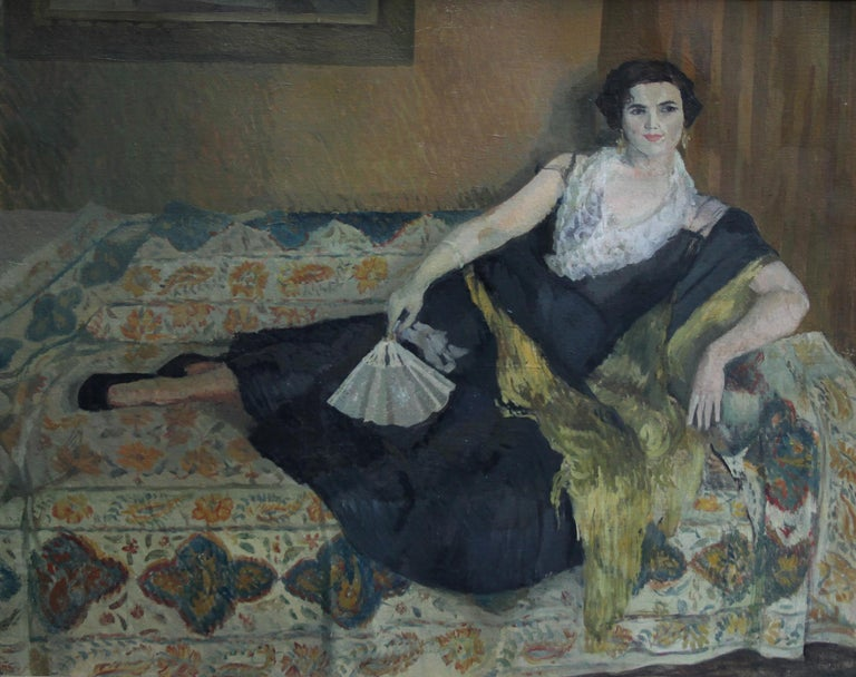 Lady Reclining Portrait - British 50's Impressionist oil painting female artist For Sale 4