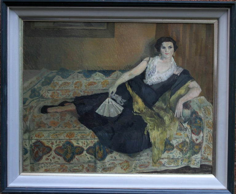 Lady Reclining Portrait - British 50's Impressionist oil painting female artist For Sale 5
