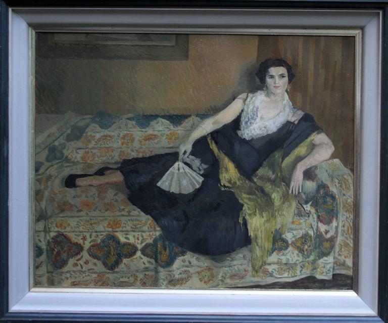 Caroline Hutchinson Interior Painting - Lady Reclining Portrait - British 50's Impressionist oil painting female artist
