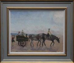 Newcastle - Whitley Bay - British art 50's Impressionist oil painting donkeys