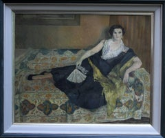 Portrait Lady Reclining - British 50's Impressionist oil painting female artist