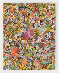 """Caroline Larsen, """"Flora Frenzy,"""" oil paint on linen, 2017"""