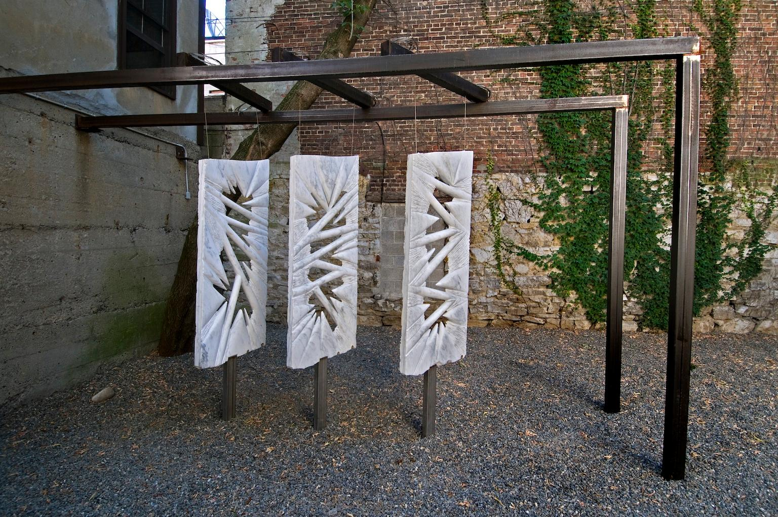 """TRILOGY"", Marble & Stainless Steel Outdoor Abstract Contemporary Sculpture"