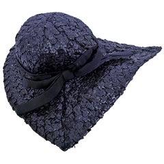 Caroline Reboux Paris Woven Raffia Curved Brim Hat