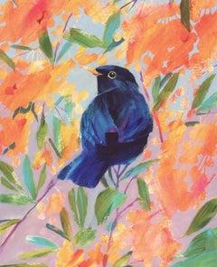 Carolyn Carter, Blackbird, Original Animal Painting, Bright Contemporary Art