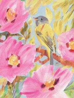 Flycatcher Canary BY CAROLYN CARTER, Bird Paintings, Animal Art, Original Art