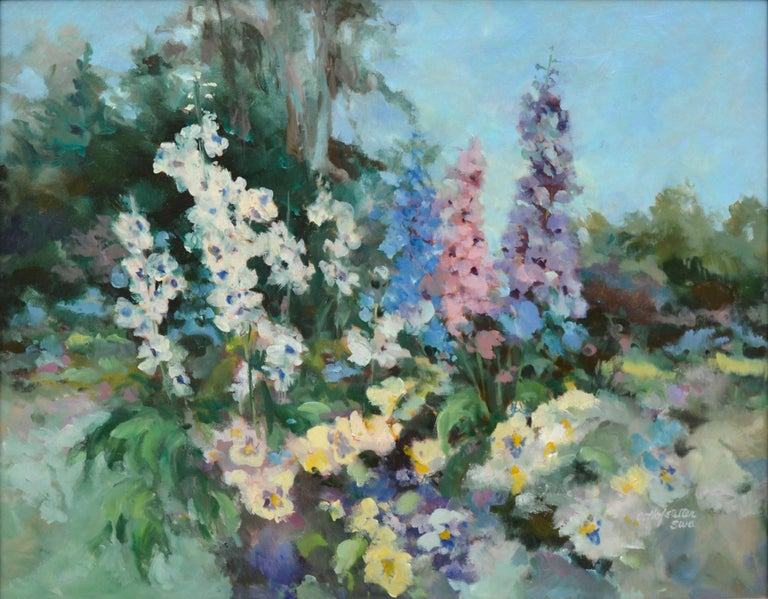 Garden in Bloom - Floral Landscape  - Painting by Carolyn Hofstetter