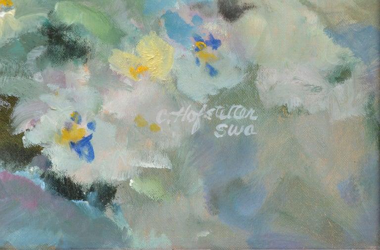 Garden in Bloom - Floral Landscape  - Gray Still-Life Painting by Carolyn Hofstetter
