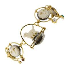 Carolyn Morris Bach Carved Bone 18 Karat Gold and Sterling Silver Bracelet