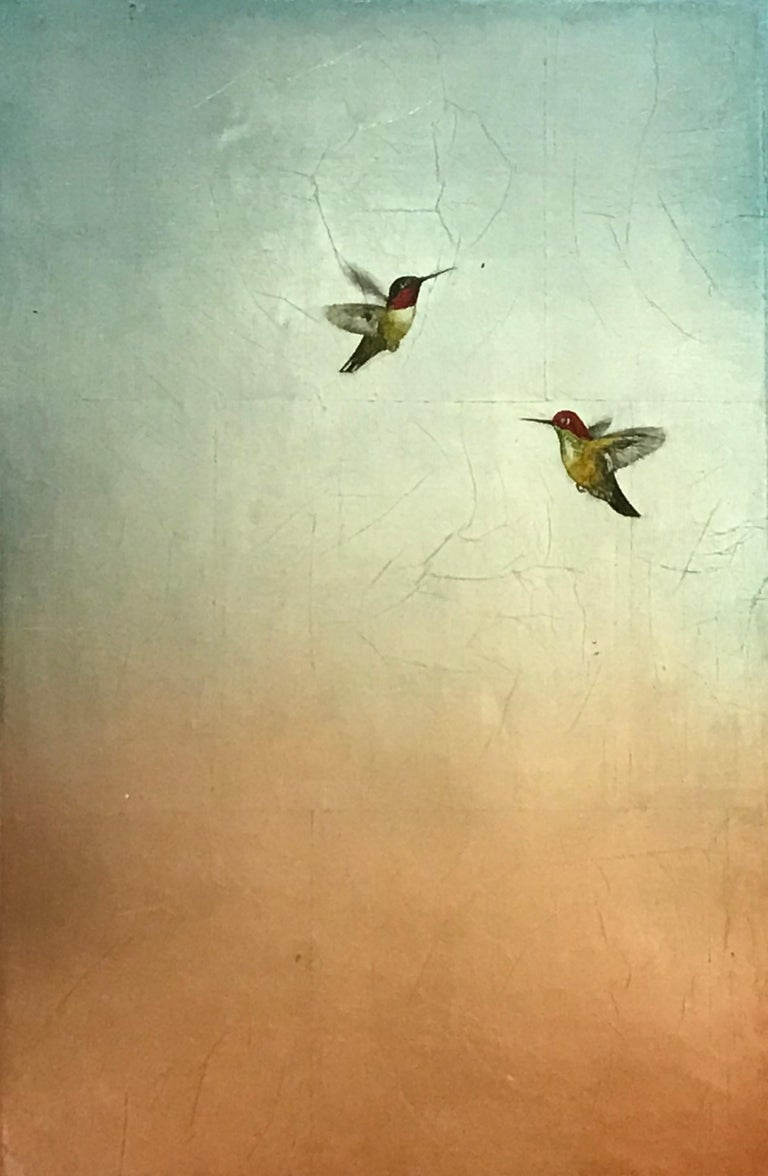 Carolyn Reynolds Animal Painting - Duo in Blue and Rose Skies
