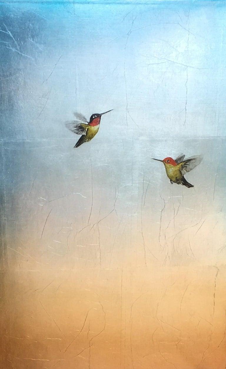 Carolyn Reynolds Animal Painting - Duo in Soft Aqua