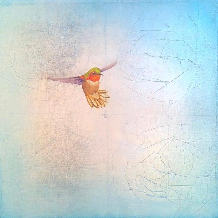 Carolyn Reynolds Animal Painting - Single Hummer Over Teal