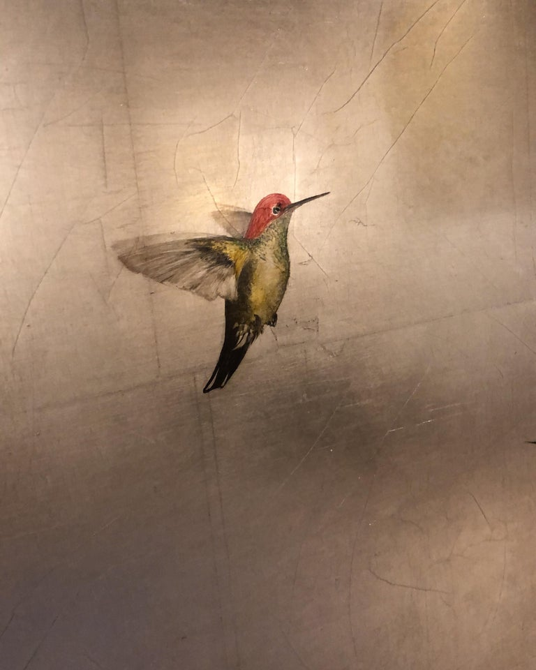 Three Hummers in Silver Skies - Contemporary Painting by Carolyn Reynolds