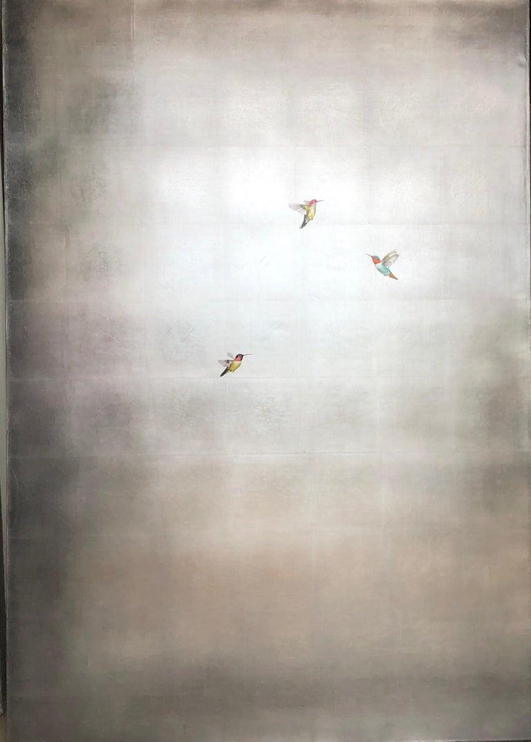 Carolyn Reynolds Animal Painting - Three Hummers in Silver Skies