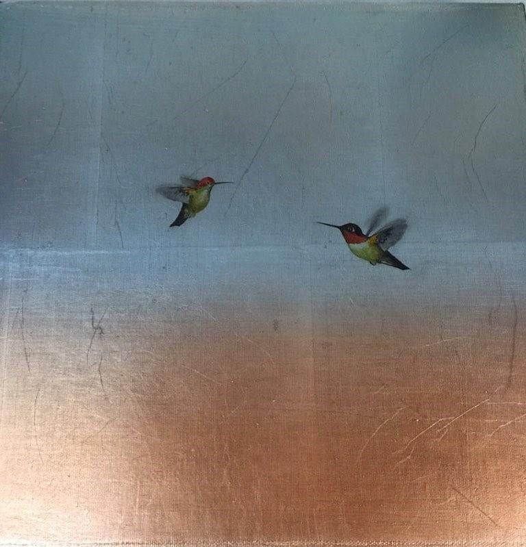 Carolyn Reynolds Animal Painting - Two Hummers Ascending Over Copper