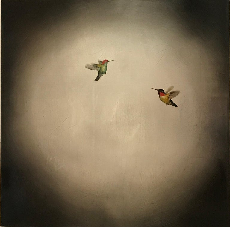 Carolyn Reynolds Animal Painting - Two Hummers in Moonlight Glow