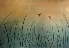 Two Hummers in Reeds and Rose Gold