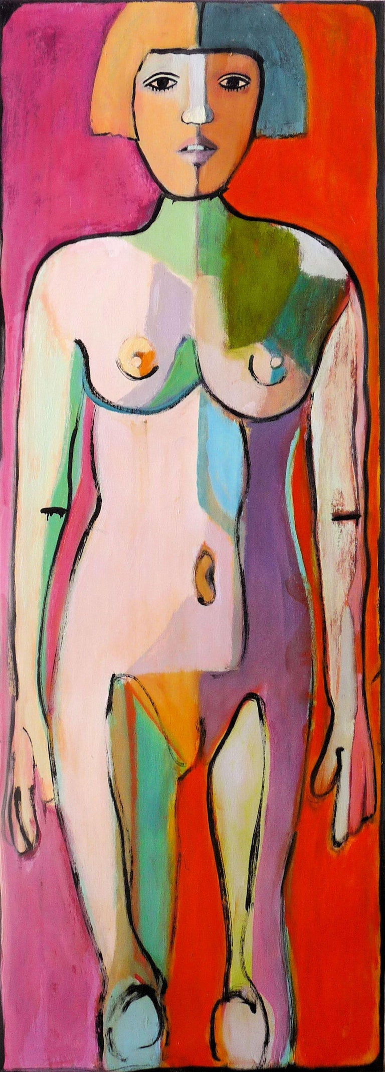 VERY COLORFUL ABSTRACT STANDING NUDE, long and narrow, great for an end of hallway statement :: Painting :: Post Modern :: This piece comes with an official certificate of authenticity signed by the artist :: Ready to Hang: Yes :: Signed: Yes ::