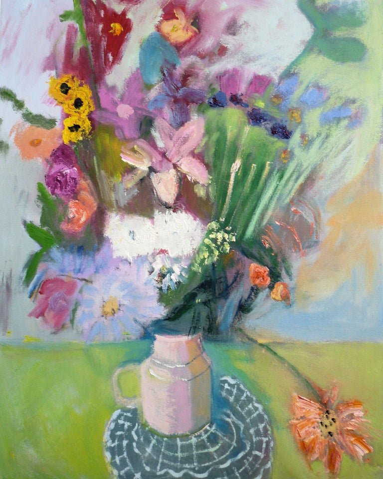 VASE OF FLOWERS, IMPRESSIONIST STYLE :: Painting :: Modern :: This piece comes with an official certificate of authenticity signed by the artist :: Ready to Hang: Yes :: Signed: No ::  :: Canvas :: Portrait :: Original :: Framed: No