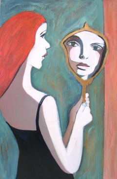 GIRL IN THE MIRROR, Painting, Oil on Canvas