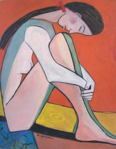 NUDE WITH ORANGE, Painting, Oil on Canvas