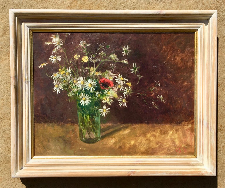 Daisies and Poppies - 20th Century British Still Life by Carolyn Sergeant For Sale 1