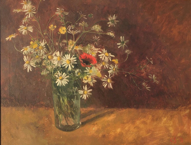 CAROLYN SERGEANT (1937-2018)  Daisies and Poppies  Signed with initials and dated '71 Oil on canvas, framed  35 by 45 cm., 13 ¾ by 17 ¾ in.  (frame size 43 by 53 cm., 17 by 20 ¾ in.)  Carolyn Cann studied at Wimbledon School of Art (1955-59) and at