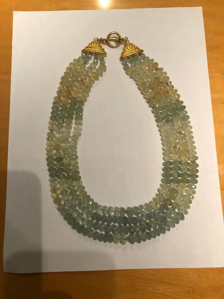 Carolyn Tyler 22 and 18 Carat Gold and Peridot Strand For Sale 4