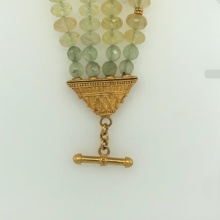 Carolyn Tyler 22 and 18 Carat Gold and Peridot Strand For Sale 5