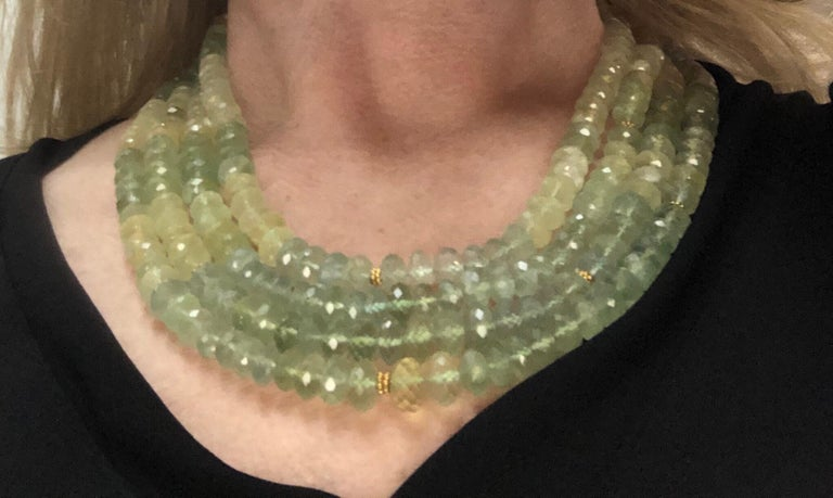 Carolyn Tyler 22 and 18 Carat Gold and Peridot Strand For Sale 2