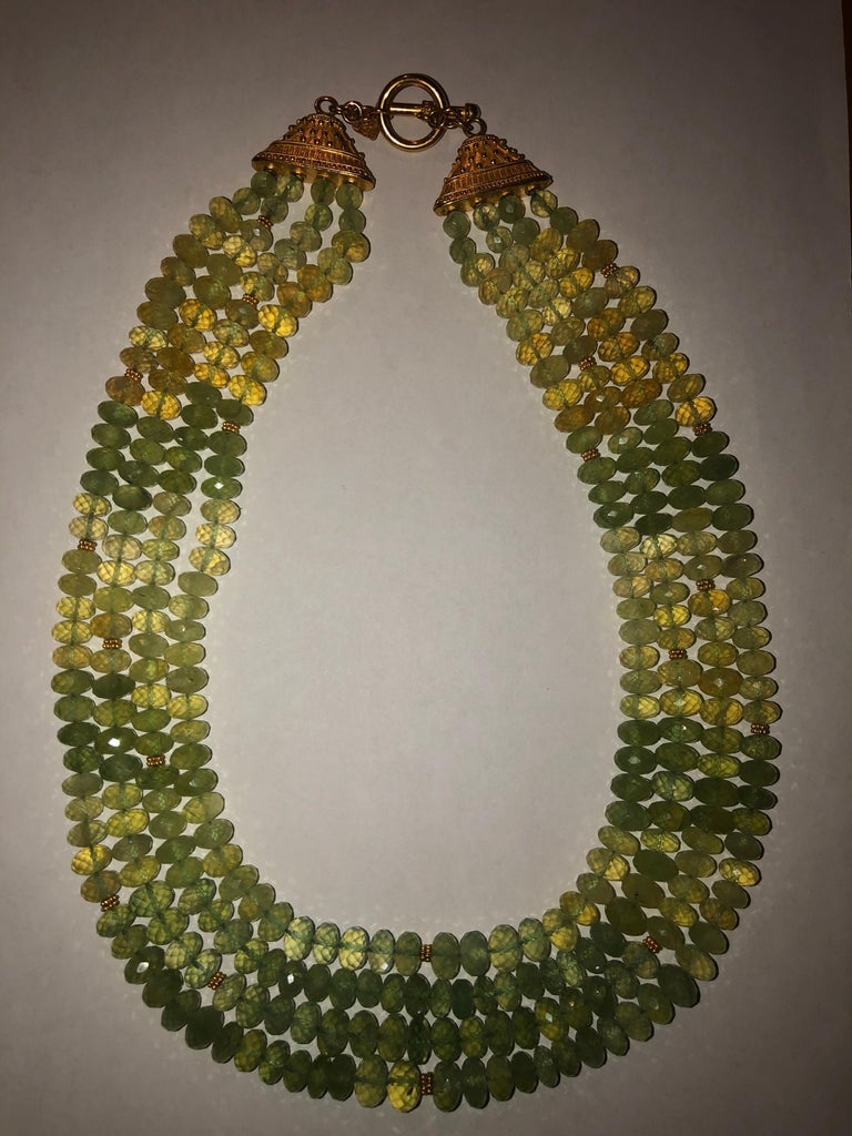 Carolyn Tyler 22 and 18 Carat Gold and Peridot Strand For Sale 3