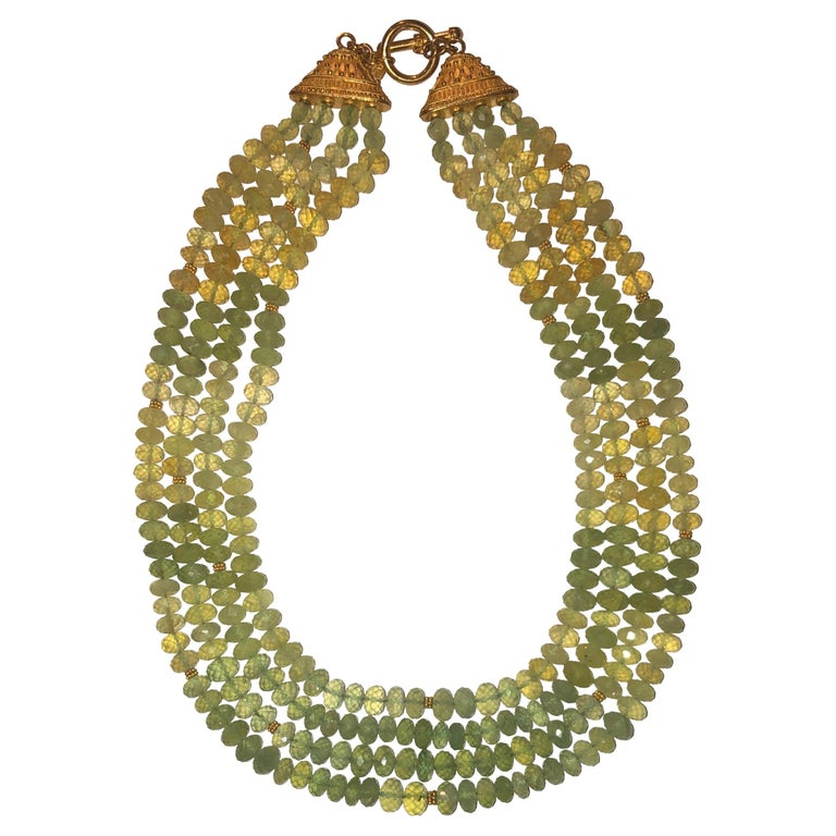 Carolyn Tyler 22 and 18 Carat Gold and Peridot Strand For Sale