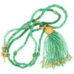 Carolyn Tyler Chysophrase Lola Necklace and Urchin Tassel
