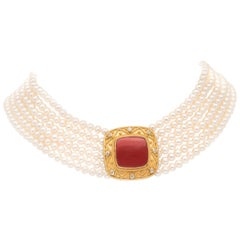 Carolyn Tyler 'Corinna Choker' White Pearl and Red Coral Necklace in 22k Gold