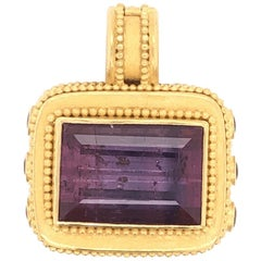 Carolyn Tyler Tourmaline Pink Sapphire Gold Pendant Enhancer Estate Fine Jewelry